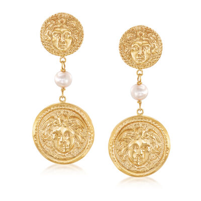 Italian 6mm Cultured Pearl Medusa Drop Earrings in 18kt Yellow Gold Over Sterling Silver