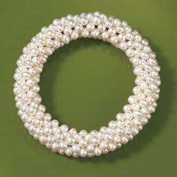 4-4.5mm Cultured Pearl Stretch Cluster Bracelet