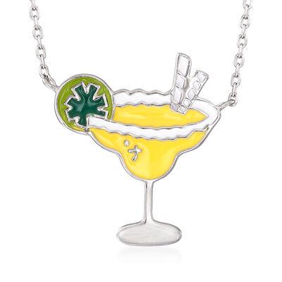 Multicolored Enamel Margarita Necklace in Sterling Silver
