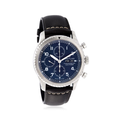 Breitling Navitimer 8 Auto Chronograph 43mm Men's Stainless Steel and Black Leather Watch