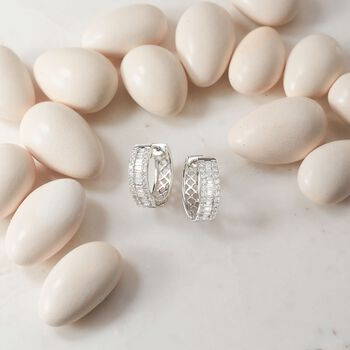 """1.00 ct. t.w. Baguette and Round Diamond Three-Row Hoop Earrings in 14kt White Gold. 5/8"""", , default"""