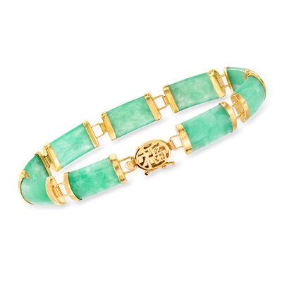 Green Jade Bracelet in 14kt Yellow Gold, , default