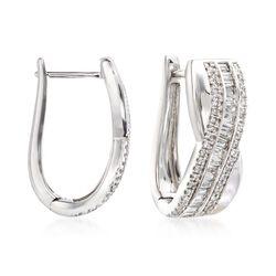 """1.00 ct. t.w. Diamond Crisscross Hoop Earrings in 14kt White Gold. 5/8"""", , default"""