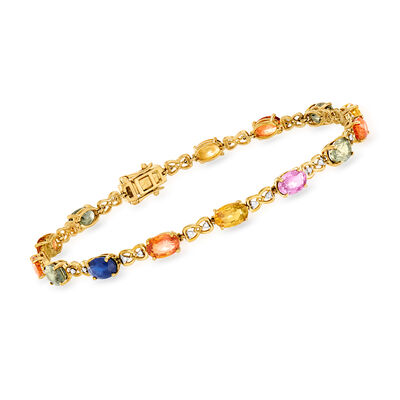 10.00 ct. t.w. Multicolored Sapphire and .12 ct. t.w. Diamond Tennis Bracelet in 14kt Yellow Gold, , default