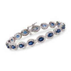 "9.70 ct. t.w. Sapphire and .85 ct. t.w. Diamond Bracelet in 14kt White Gold. 7"", , default"