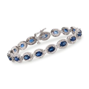 """9.70 ct. t.w. Sapphire and .85 ct. t.w. Diamond Bracelet in 14kt White Gold. 7"""", , default"""