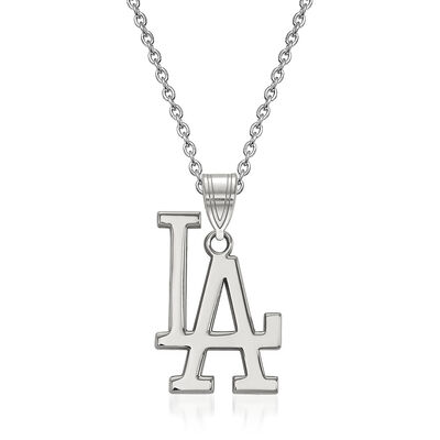 "Sterling Silver MLB Los Angeles Dodgers Pendant Necklace. 18"", , default"
