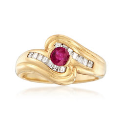 C. 1990 Vintage .40 Carat Ruby and .50 ct. t.w. Diamond Curve Ring in 18kt Yellow Gold, , default