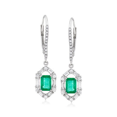 1.00 ct. t.w. Emerald and .30 ct. t.w. Diamond Drop Earrings in 18kt White Gold