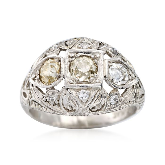 C. 1920 Vintage .72 ct. t.w. Diamond Dome Ring in Platinum. Size 4.5, , default