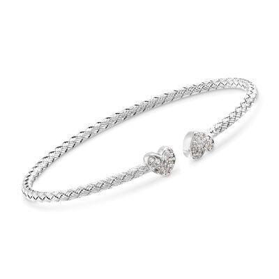 """Charles Garnier """"Adele"""" .25 ct. t.w. CZ Heart Cuff Bracelet in Sterling Silver, , default"""
