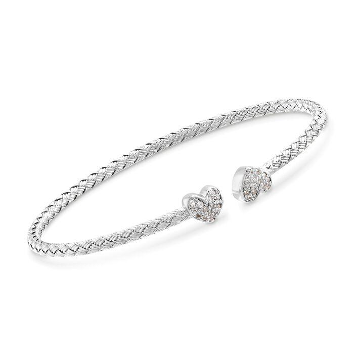 """Charles Garnier """"Adele"""" .25 ct. t.w. CZ Heart Cuff Bracelet in Sterling Silver. 7"""", , default"""