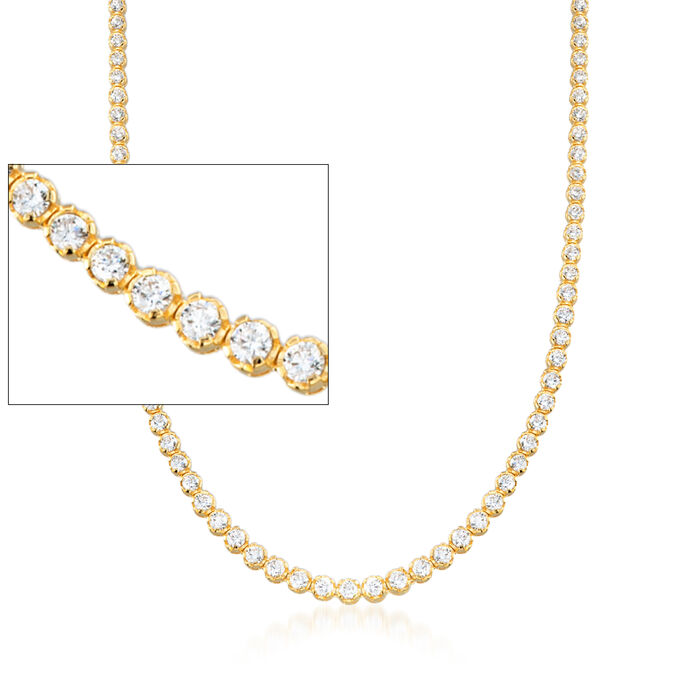 10.00 ct. t.w. Graduated CZ Tennis Necklace in 14kt Gold Over Sterling, , default