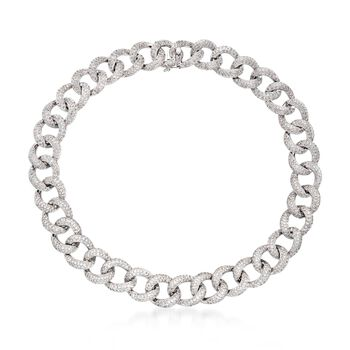 """31.50 ct. t.w. Pave Diamond Large Link Collar Necklace in 18kt White Gold. 17"""", , default"""