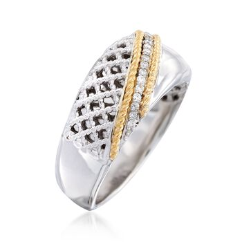 "Andrea Candela ""Rioja"" .10 ct. t.w. Diamond Ring in 18kt Yellow Gold and Sterling Silver. Size 7, , default"
