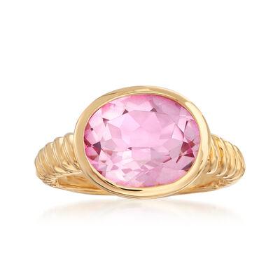 6.30 Carat Pink Topaz Rope-Shank Ring in 18kt Gold Over Sterling