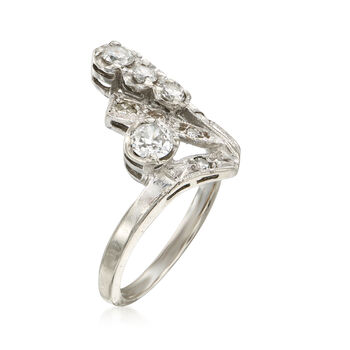 C. 1960 Vintage .90 ct. t.w. Diamond Dinner Ring in 14kt White Gold. Size 6.25, , default