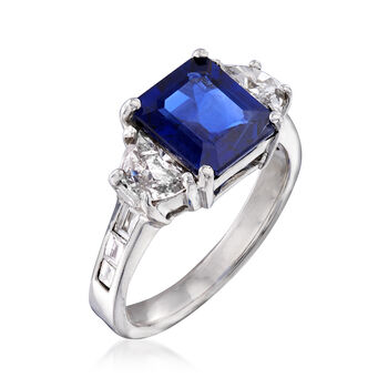 3.10 Carat Sapphire and 1.03 ct. t.w. Diamond Ring in 18kt White Gold. Size 6.5, , default