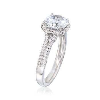 .27 ct. t.w. Diamond Halo Engagement Ring Setting in 14kt White Gold, , default
