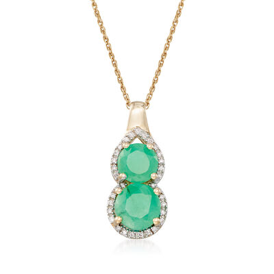 2.00 ct. t.w. Emerald Pendant Necklace with Diamond Accents in 14kt Yellow Gold, , default