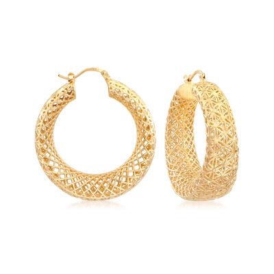 Italian 18kt Gold Over Sterling Openwork Hoop Earrings, , default