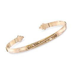 C. 1940 Vintage 10kt Rose Gold Raised Wire Cuff Bracelet, , default