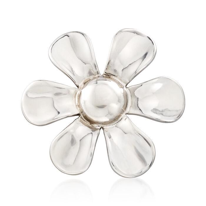 Italian Sterling Silver Flower Pin , , default