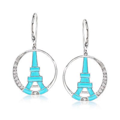 Blue Enamel and .30 ct. t.w. White Topaz Eiffel Tower Drop Earrings in Sterling Silver, , default