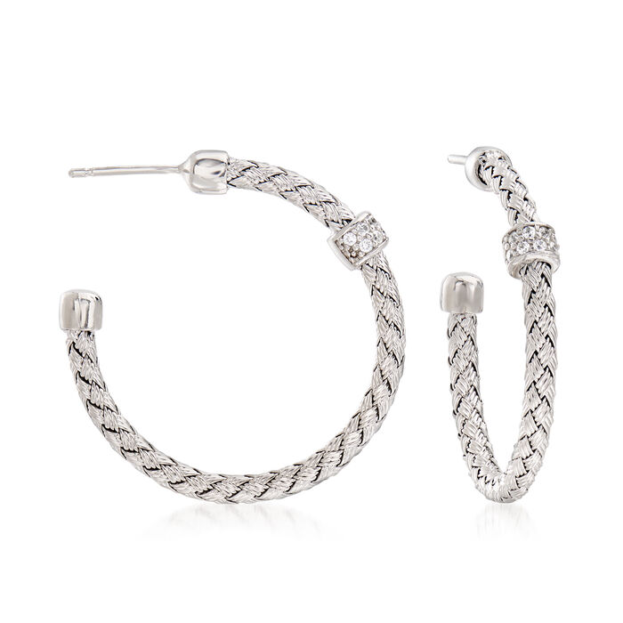 """Italian .22 ct. t.w. CZ Woven Hoop Earrings in Sterling Silver. 1 1/4"""""""