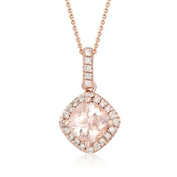 """.80 Carat Morganite and .13 ct. t.w. Diamond Pendant Necklace in 14kt Rose Gold. 16"""", , default"""