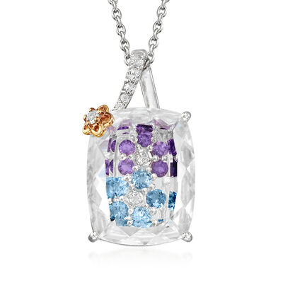 Rock Crystal and .90 ct. t.w. Multi-Gemstone Flower Pendant Necklace in Sterling Silver with 18kt Gold Over Sterling Accents