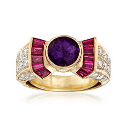 C. 1990 Vintage 1.10 Carat Synthetic Purple Sapphire and .70 ct. t.w. Diamond Ring With .65 ct. t.w. Rubies in 18kt Gold. Size 3.5, , default