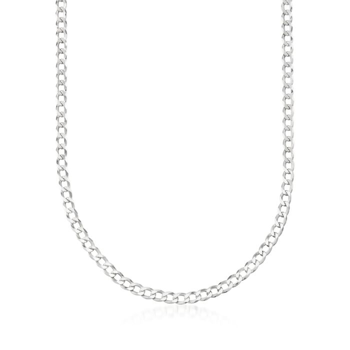 """Men's 5mm Sterling Silver Curb-Link Chain Necklace. 22"""""""