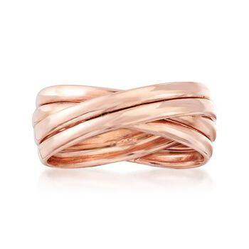 18kt Rose Gold Over Sterling Silver Multi-Band Crisscross Ring, , default