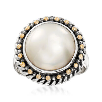 13mm Cultured Mabe Pearl Bali-Style Ring in Sterling Silver and 18kt Yellow Gold