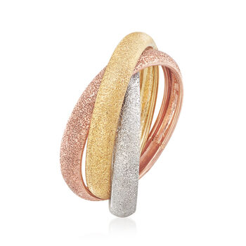 Italian 14kt Multitone Gold Rolling Ring. Size 6, , default