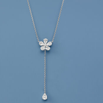 .40 ct. t.w. Diamond Flower Lariat Necklace in 14kt White Gold