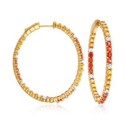 3.90 ct. t.w. Multicolored Sapphire and .80 ct. t.w. Diamond Inside-Outside Hoop Earrings in 18kt Yellow Gold, , default