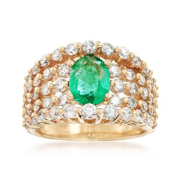 1.70 Carat Emerald and 2.10 ct. t.w. Diamond Ring in 14kt Yellow Gold, , default