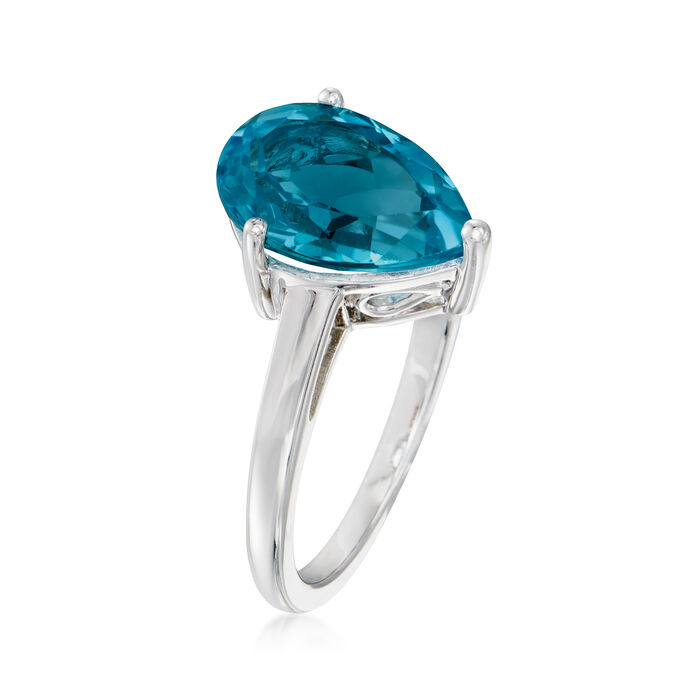 3.60 Carat Pear-Shaped London Blue Topaz Ring in Sterling Silver