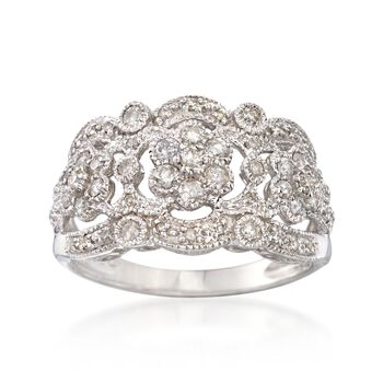 .19 ct. t.w. Diamond Openwork Ring in Sterling Silver, , default
