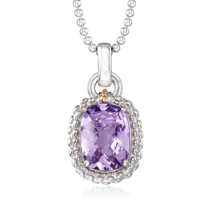 "Phillip Gavriel ""Popcorn"" 5.00 Carat Amethyst Pendant Necklace in Sterling Silver with 18kt Yellow Gold"