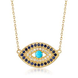 Turquoise and .20 ct. t.w. Sapphire Evil Eye Necklace With White Topaz Accents in 18kt Gold Over Sterling, , default