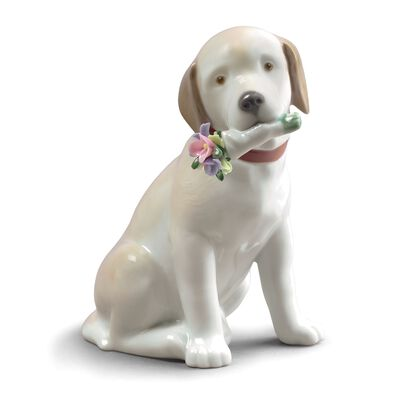 "Lladro ""This Bouquet is for You"" Porcelain Dog Figurine"
