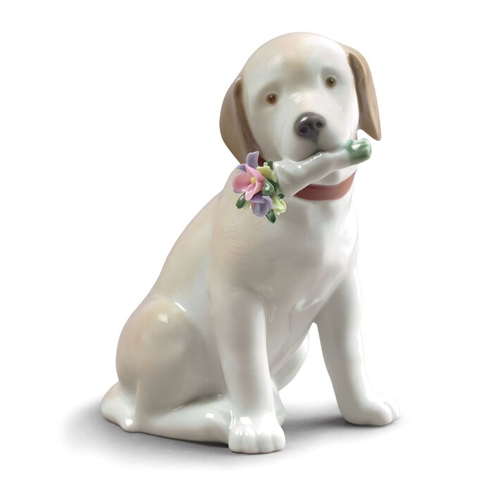 "Lladro ""This Bouquet is for You"" Porcelain Dog Figurine, , default"
