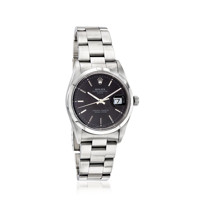Pre-Owned Rolex Date Men's 34mm Automatic Stainless Steel Watch, , default