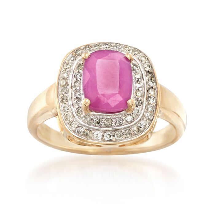 1.70 Carat Ruby and .31 ct. t.w. Diamond Ring in 14kt Yellow Gold, , default