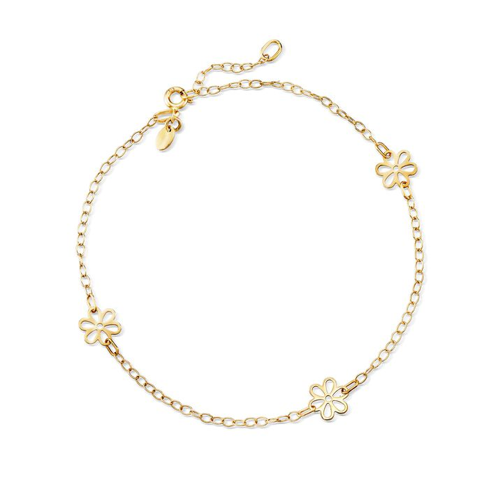 Italian 14kt Yellow Gold Floral Station Anklet. 9""