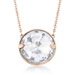 "Swarovski Crystal ""Globe"" Crystal Solitaire Necklace in Rose Gold Plate. 16.5"", , default"