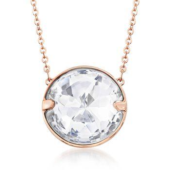 "Swarovski Crystal ""Globe"" Crystal Solitaire Necklace in Rose Gold Plate. 16.5"", , default"